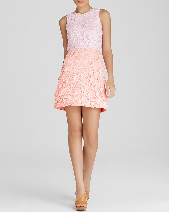 Cynthia Rowley Dress Sleeveless Lace Color Block Open Back Mini