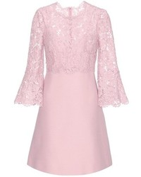 Valentino Lace Trimmed Wool And Silk Dress