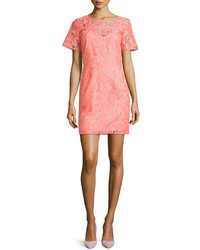 Veronica Beard Floral Embroidered Lace Shift Dress Neon Pinknude