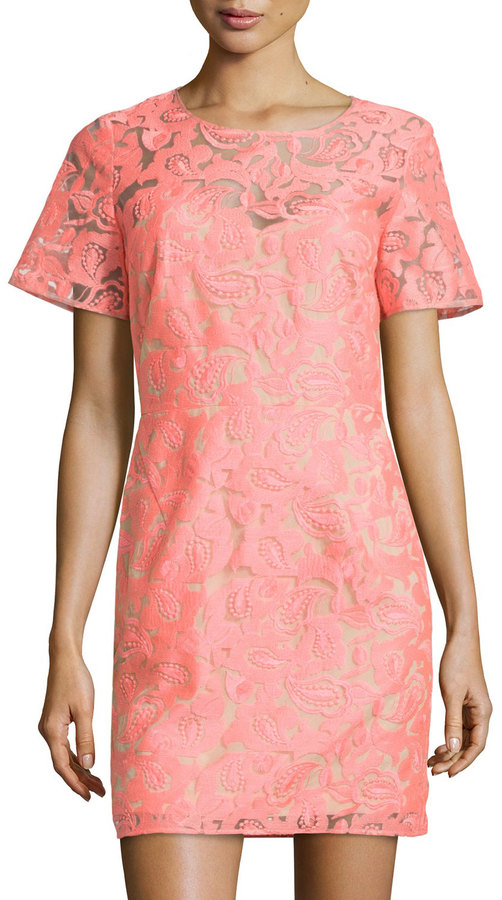 650 Veronica Beard Floral Embroidered Lace Shift Dress Neon Pinknude