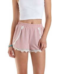 Charlotte Russe Lace Trim High Waisted Shorts | Where to buy & how ...