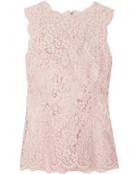 Dolce & Gabbana Corded Cotton Blend Lace Top Pastel Pink