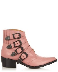 Buckle leather ankle boots medium 719941