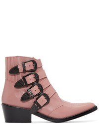 Toga Pulla Pink Western Buckle Boots