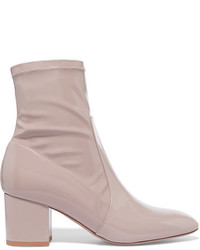 Valentino Faux Patent Leather Ankle Boots Antique Rose