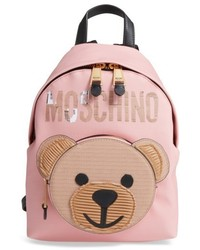 Moschino Cardboard Bear Leather Backpack Pink