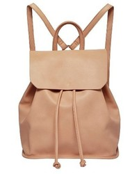 Midnight faux leather flap backpack pink medium 1248598