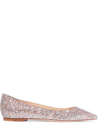 Jimmy Choo Romy Glittered Leather Point Toe Flats Pastel Pink