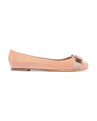 Salvatore Ferragamo Varina Bow Detailed Patent Leather Ballet Flats