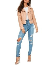 Missguided Faux Leather Moto Jacket