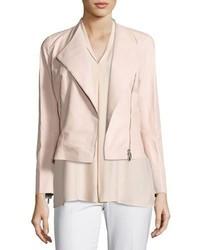 Lafayette 148 New York Brianna Embossed Lambskin Moto Jacket Bright Pink