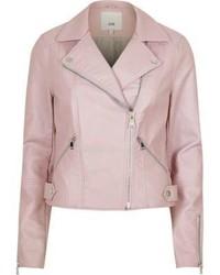River Island Light Pink Faux Leather Biker Jacket