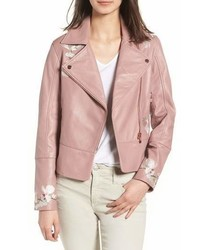 Ted Baker London Harmony Embroidered Leather Biker Jacket