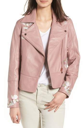 select for clearance high fashion best prices $347, Ted Baker London Harmony Embroidered Leather Biker Jacket