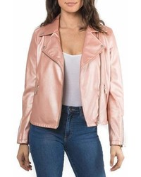 Metallic faux leather biker jacket medium 6987566