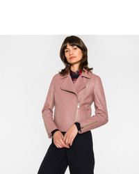 Paul Smith Pink Leather Biker Jacket