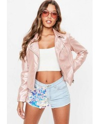 Missguided Rose Gold Faux Leather Biker Jacket