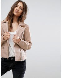 Asos Soft Pink Leather Biker Jacket