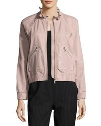 Lamb leather zip front bomber jacket medium 5277104