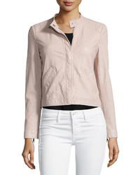 Perforated leather motorcycle jacket sheer pink medium 515124