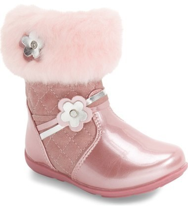 Laura Ashley Toddler Girls Faux Fur Flower Boot
