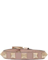 Valentino Pink Garavani Leather Rockstud Bracelet