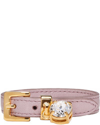 Miu Miu Pink Leather Crystal Belt Bracelet