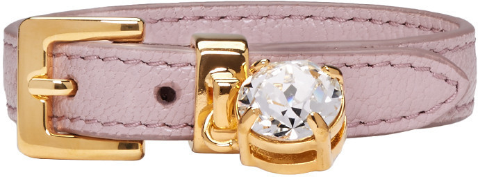 Pink Leather Crystal Bracelet Miu Miu wWS2H