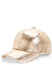 Amici Accessories Rose Gold Faux Leather Baseball Cap Pink