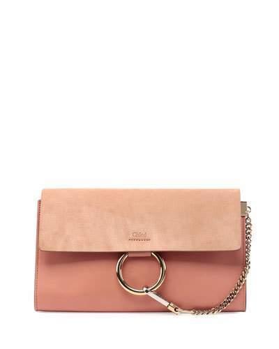 890 Chloé Chloe Faye Leather Suede Clutch Bag Rose