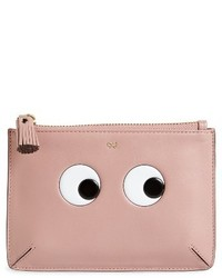Anya Hindmarch Eyes Leather Zip Pouch Pink