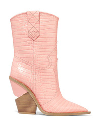 Fendi Croc Effect Leather Boots