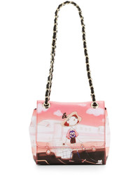 Love Moschino Airplane Stamp Pvc Shoulder Bag Pink Multi