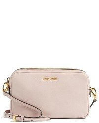 Miu Miu Madras Goatskin Leather Crossbody Bag Pink