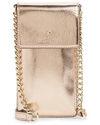 Kate Spade New York Metallic Leather Smartphone Crossbody Bag Pink