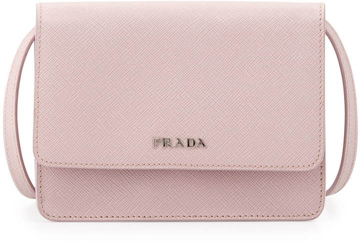 960 Prada Saffiano Lux Crossbody Bag Light Pink