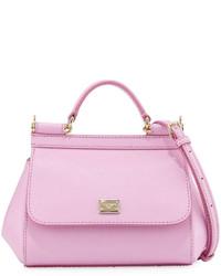 Dolce & Gabbana Sicily Micro Leather Crossbody Bag Pink