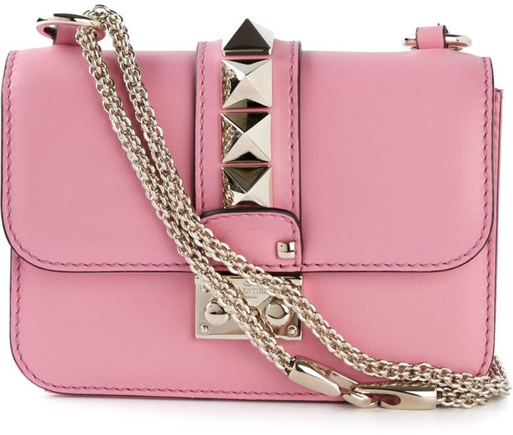 ... Pink Leather Crossbody Bags Valentino Garavani Glam Lock Cross Body Bag 3973083d71ff