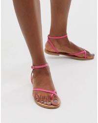 ASOS DESIGN Freefall Minimal Toe Loop Flat Sandals In Pink