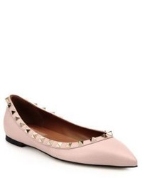 Valentino Rockstud Pebbled Leather Flats