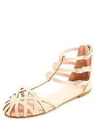 Charlotte Russe Laser Cut Out T Strap Flat Sandals