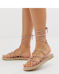 ASOS DESIGN Wide Fit Jester Knotted Espadrille Sandals