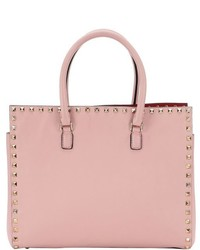 Valentino Pre Owned Pink Leather Rockstud Top Handle Small Tote