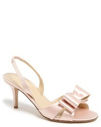Pink Leather Heeled Sandals