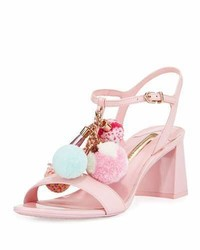 Sophia Webster Juno Pompom Mid Heel Sandal Pink
