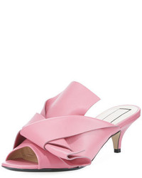 No.21 No 21 Pleated Leather Low Heel Slide Sandal