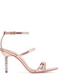 Sophia Webster Rosalind Crystal Embellished Metallic Leather Sandals Pink