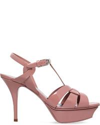 Saint Laurent Tribute 75 Patent Leather Heeled Sandals