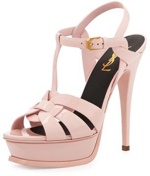 new collection the cheapest hot sale online Saint Laurent Tribute Patent Platform Sandal Light Pink, $875 ...
