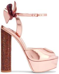 Sophia Webster Raye Bow Embellished Metallic Leather Platform Sandals Pink